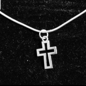 Dainty Cross Outline .925 Sterling Silver Necklace